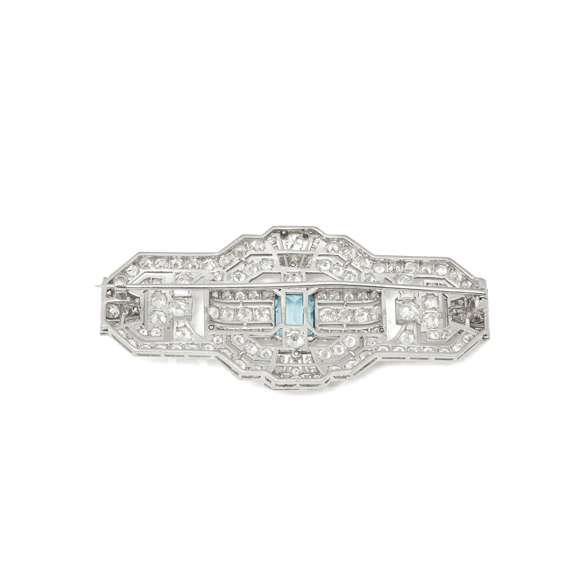 Aquamarine 18k White Gold Aquamarine & Diamond Vintage Brooch