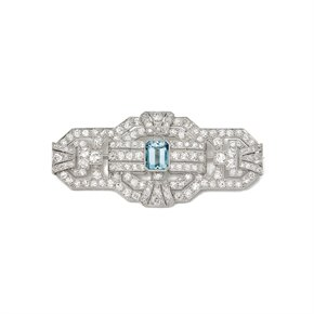 18k White Gold Aquamarine & Diamond Vintage Brooch