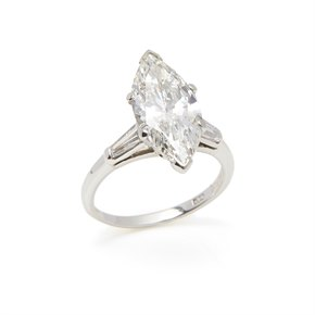 Platinum 4.18ct Marquise Diamond Engagement Ring