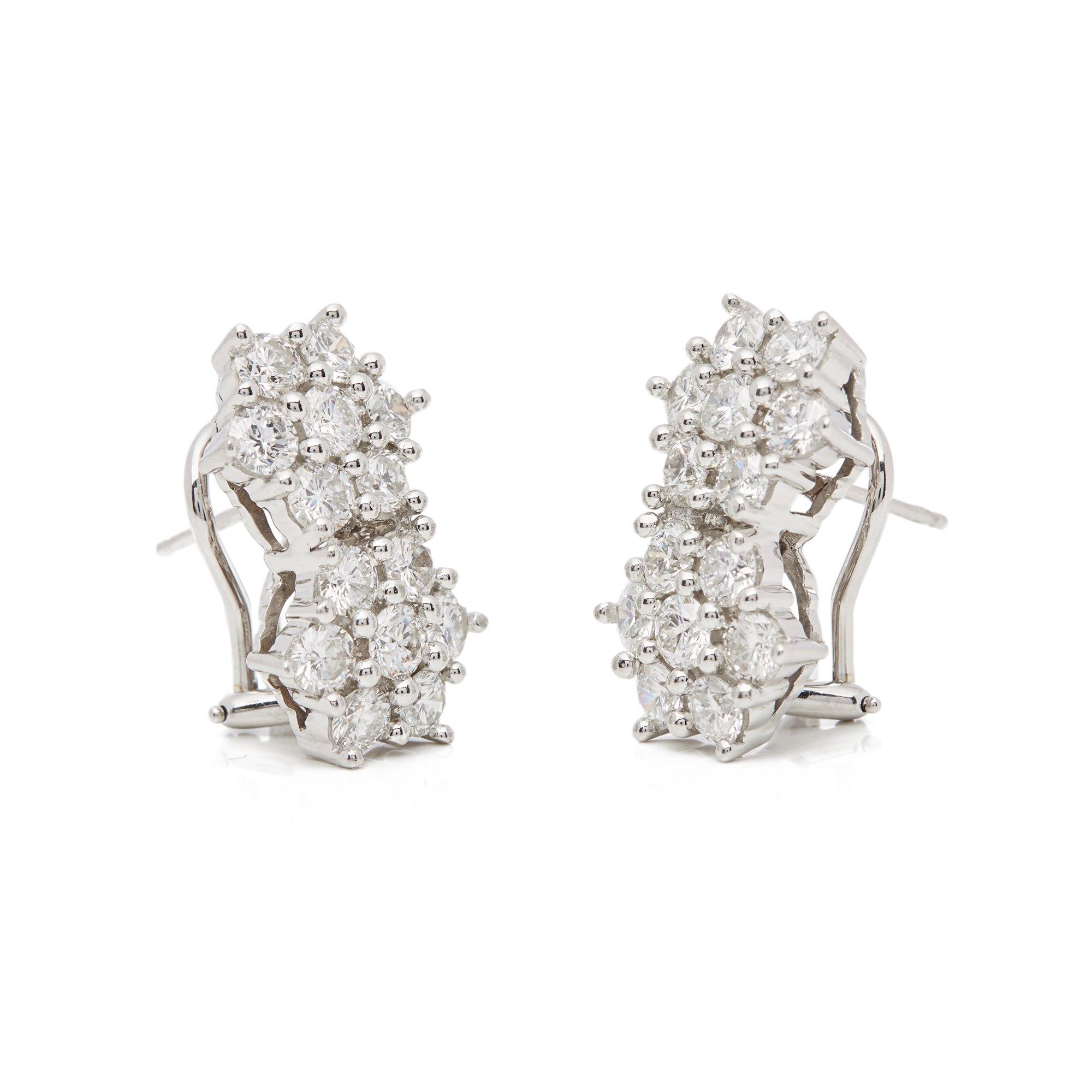 Diamanten 18k White Gold Diamond Double Cluster Earrings