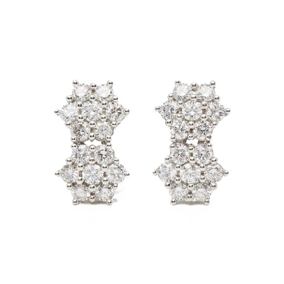 18k White Gold Diamond Double Cluster Earrings