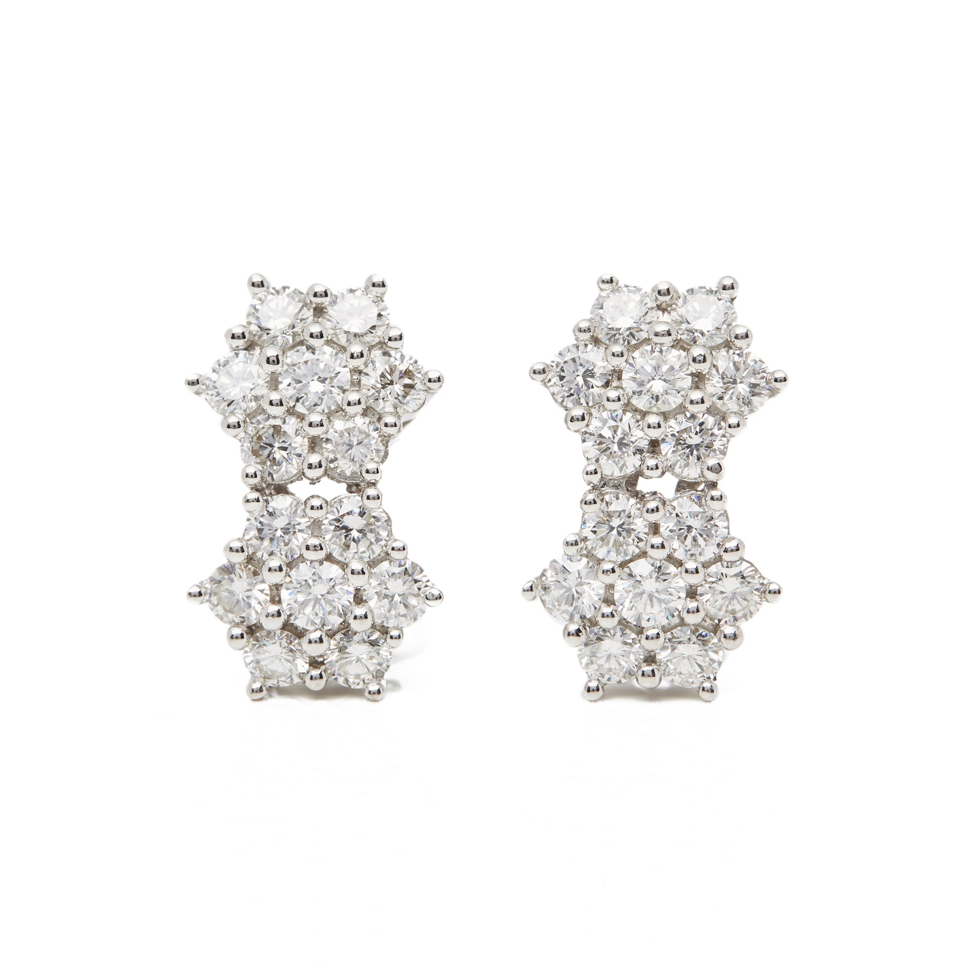 Diamond 18k White Gold Diamond Double Cluster Earrings