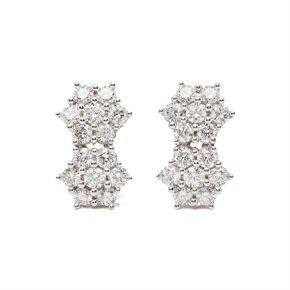 18k White Gold Diamond Double Cluster Earrings