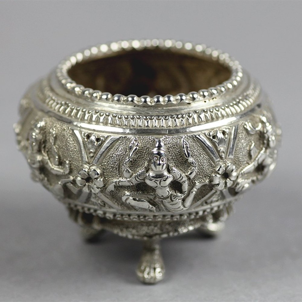 Quality Antique Indian Silver Salt Decorated With Figures C.1900