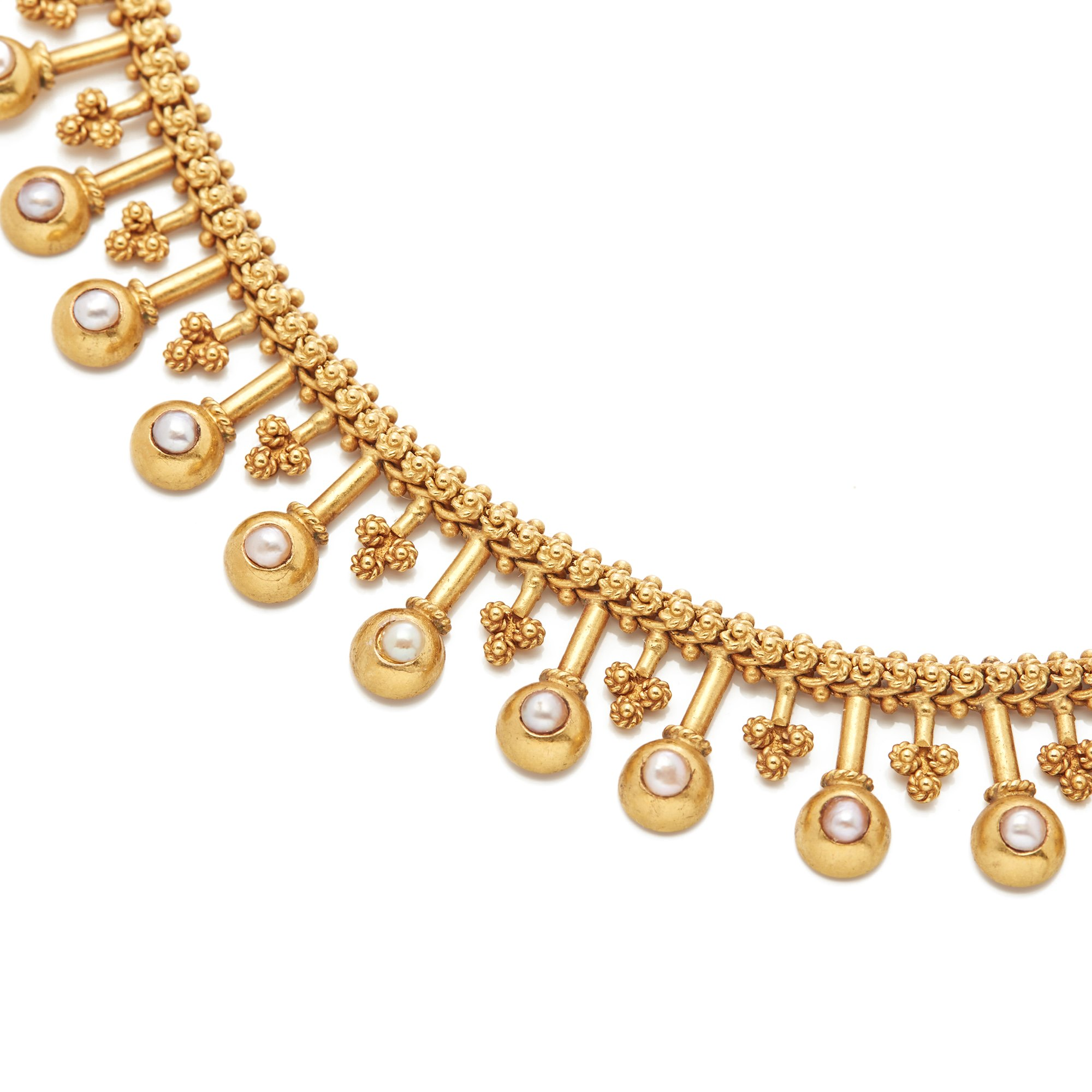 Pearl 18k Yellow Gold Vintage Drop Pearl Necklace