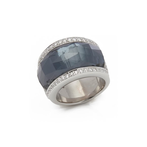 Stephen Webster 18k White Gold Hematite & Diamond Jelly Bean Ring