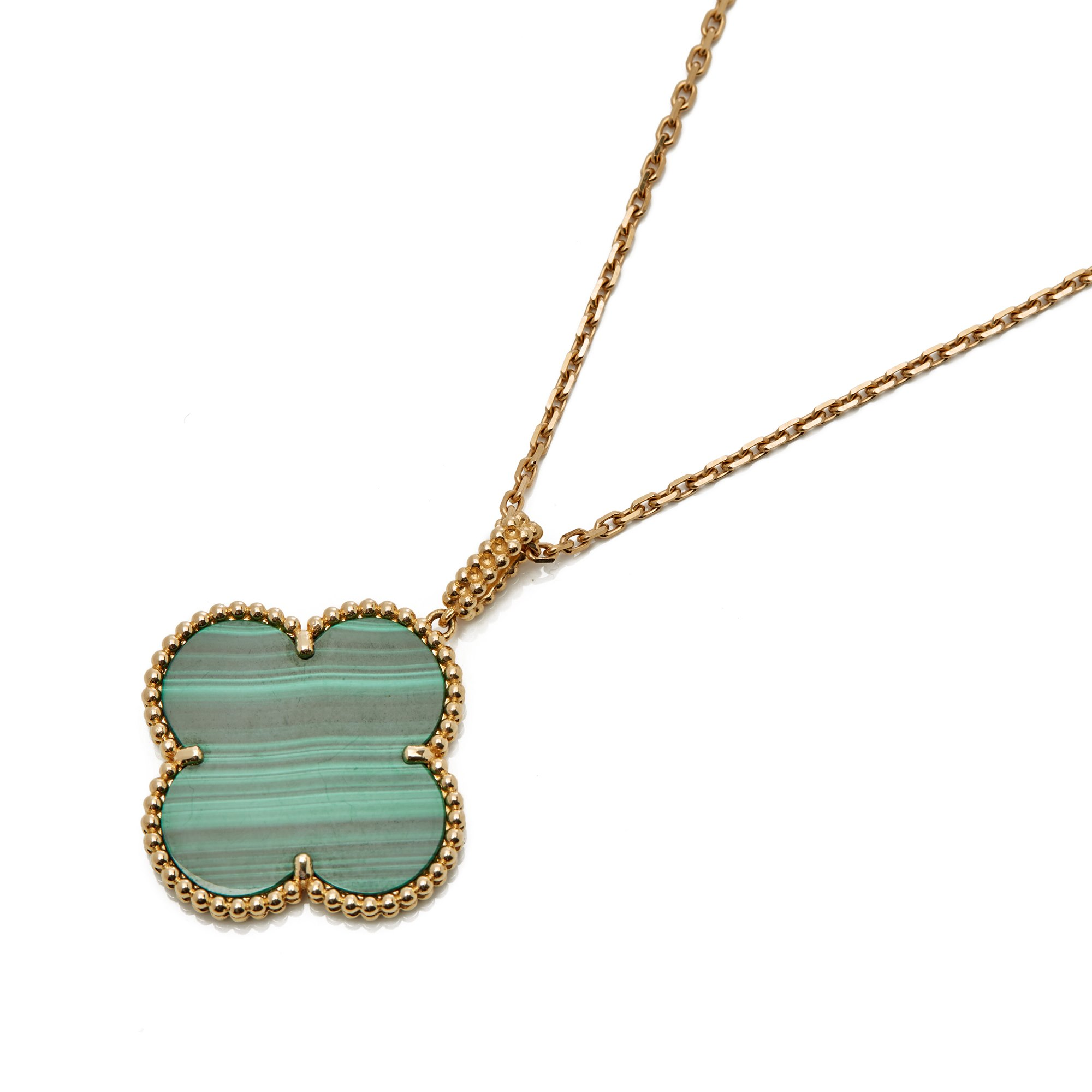 Van Cleef & Arpels 18k Yellow Gold One Motif Malachite Alhambra Necklace