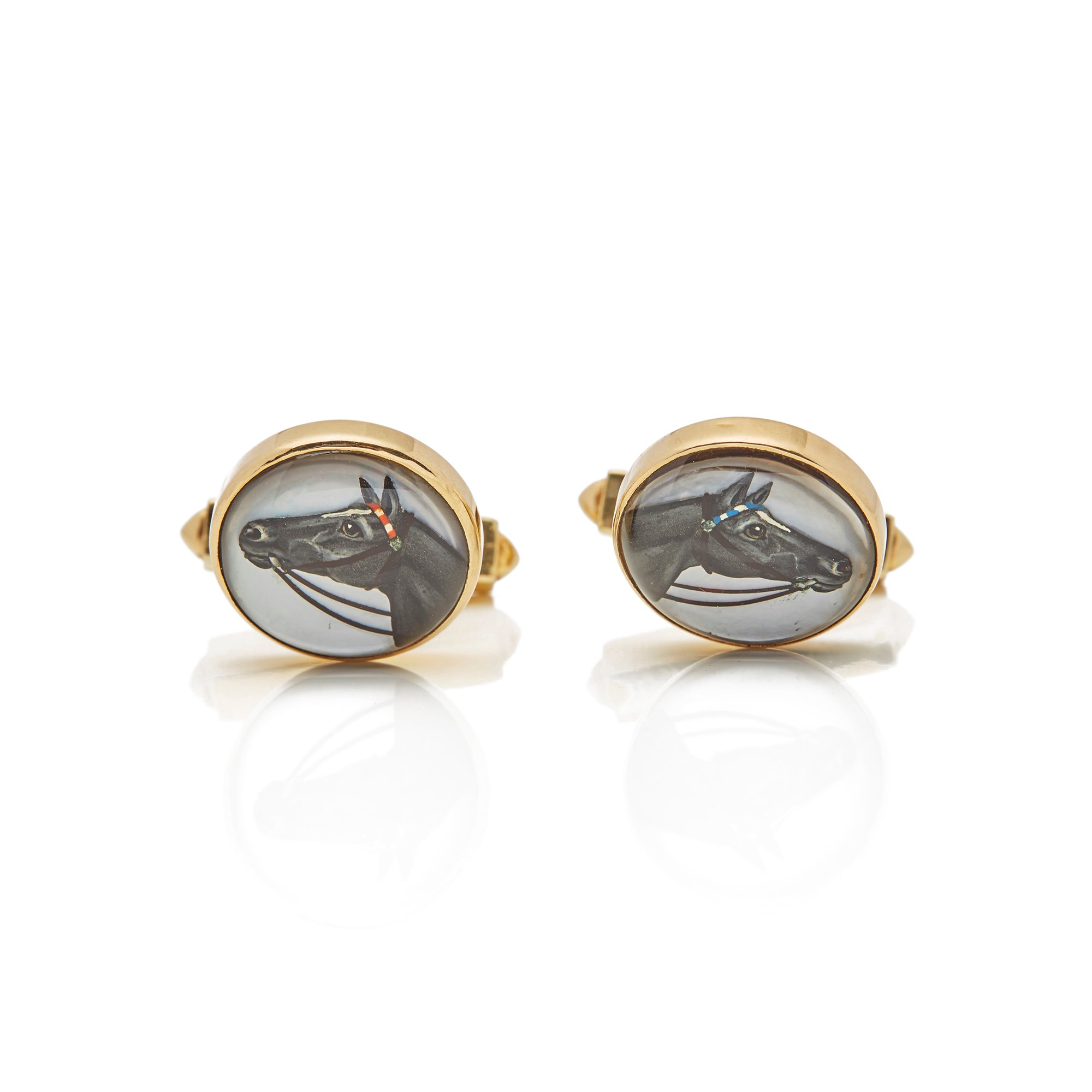 Essex Crystal 14k Yellow Gold Equestrian Cufflinks