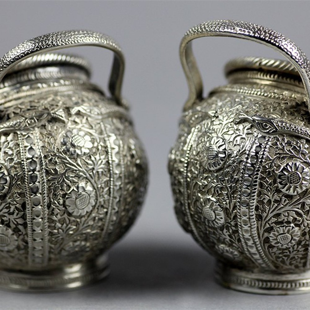PAIR INDIAN SILVER SALTS Circa 1900