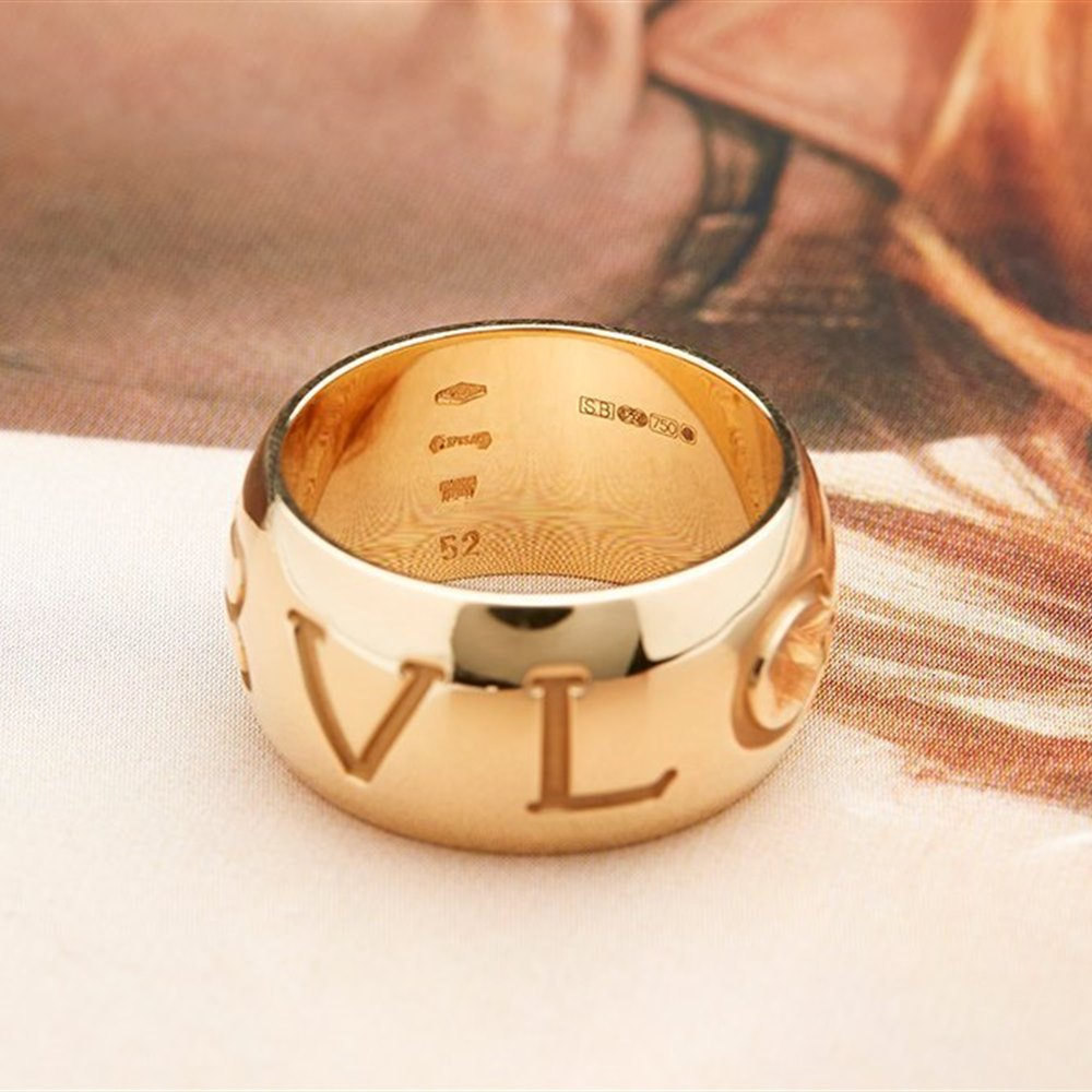 Bvlgari (or Bulgari)18K Yellow Gold Monologo Ring Size 52