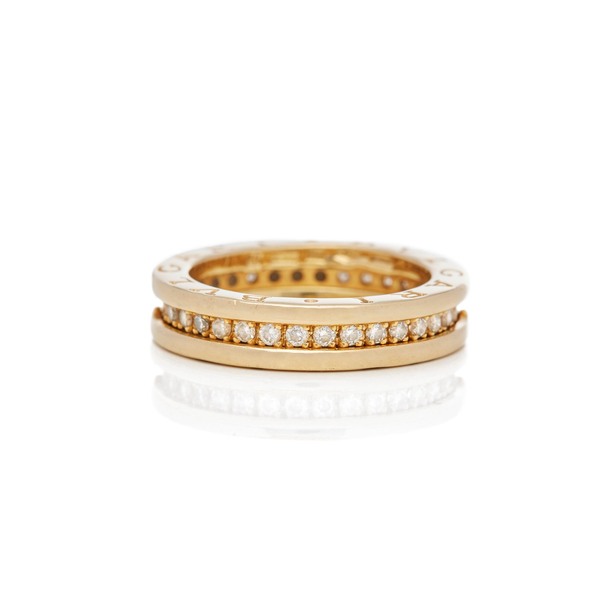 Bulgari 18k Yellow Gold One Row Diamond B.Zero 1 Ring