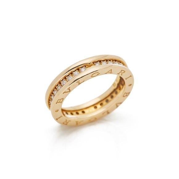 Bulgari 18k Yellow Gold One Row Diamond B.Zero 1 Ring