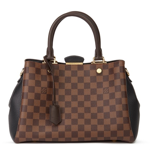 Louis Vuitton Ebene Damier Coated Canvas Black Calfskin Leather Brittany BB