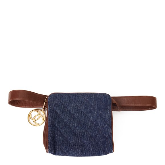Chanel Blue Quilted Denim & Brown Lambskin Vintage Timeless Charm Belt Bag