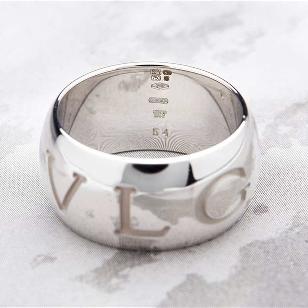 Bvlgari 18k White Gold Monologo Ring