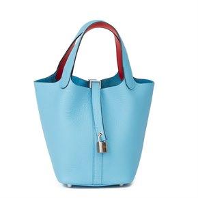 Hermès Bleu du Nord Togo Leather & Rouge de Coeur Swift Leather Picotin Lock 18cm