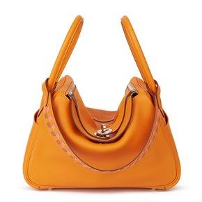 Hermès Abricot Swift Leather & Rose Azalee, Gold Epsom Leather Tressage Lindy 26cm