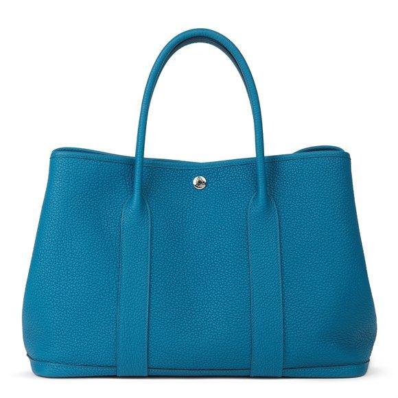 Hermès Bleu Izmir Negonda Leather Garden Party 36cm