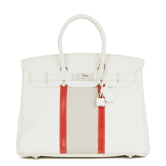 Hermès Blanc, Gris Perle Clemence Leather & Sanguine Niloticus Lizard Leather Club Birkin 35cm