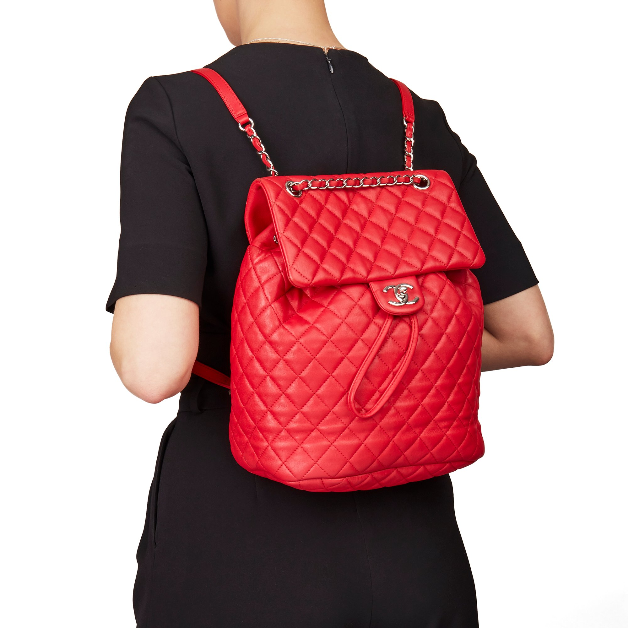 Chanel Red Quilted Lambskin Large Urban Spirit Backpack