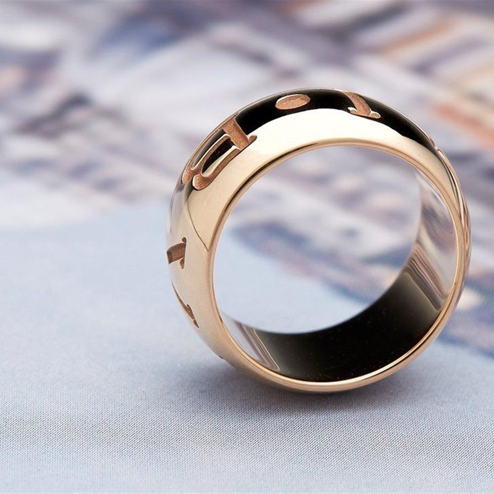 Bvlgari (or Bulgari)18K Rose Gold Monologo Ring Size 53