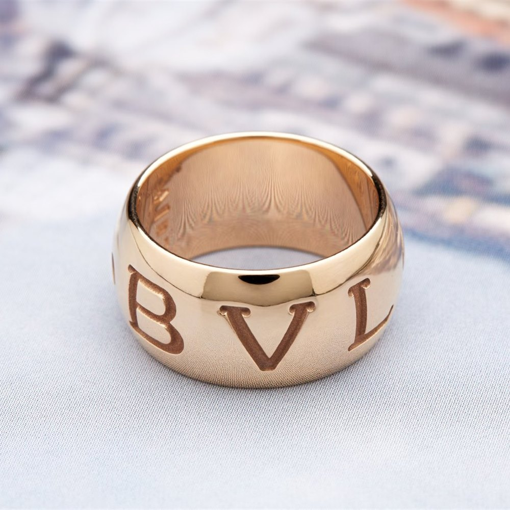 Bvlgari (or Bulgari)18K Rose Gold Monologo Ring Size 53