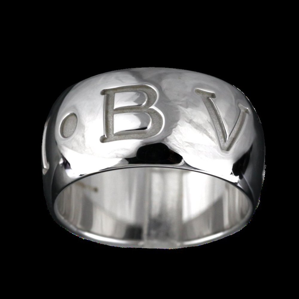 Bvlgari (or Bulgari)18K White Gold Monologo Ring Size 53