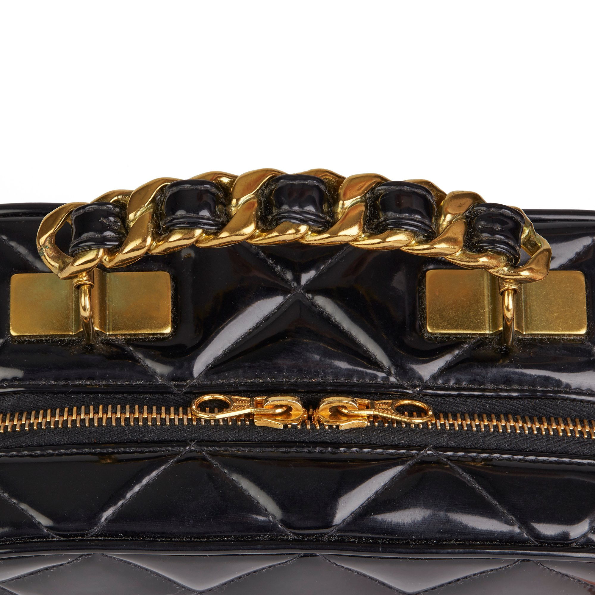 Chanel Black Quilted Patent Leather Vintage Small Timeless Lunch Box Bag