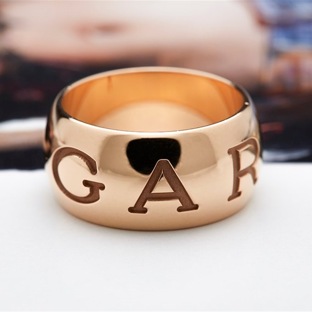 Bvlgari (or Bulgari)18K Rose Gold Monologo Ring Size 55