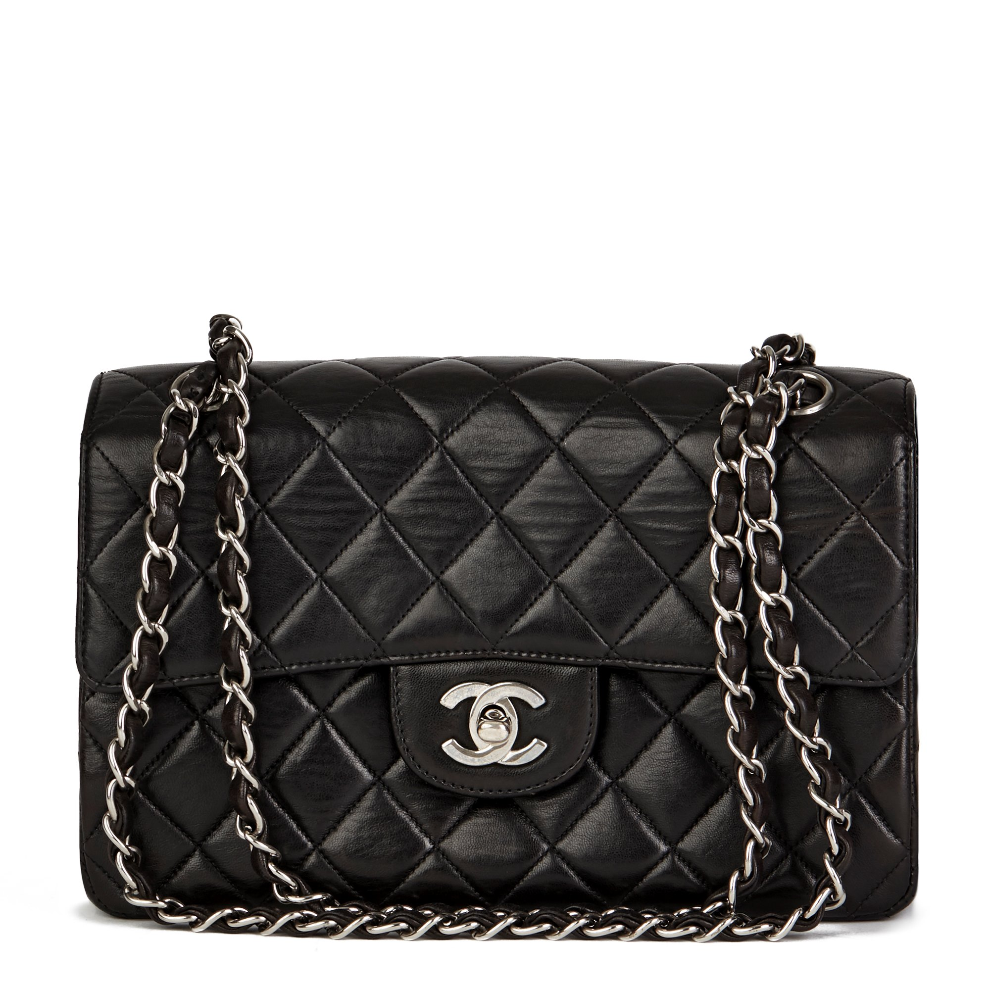 Chanel Black Lambskin Vintage Double Sided Classic Flap Bag