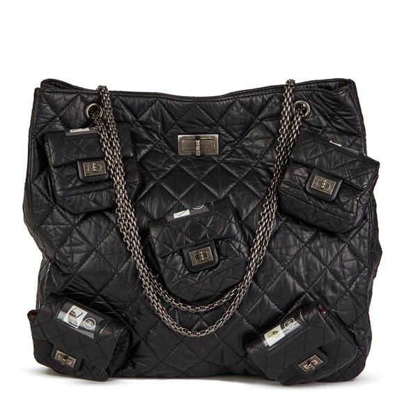 Chanel Black Quilted Aged Calfskin Leather 5 Pocket Reissue Shoulder Bag
