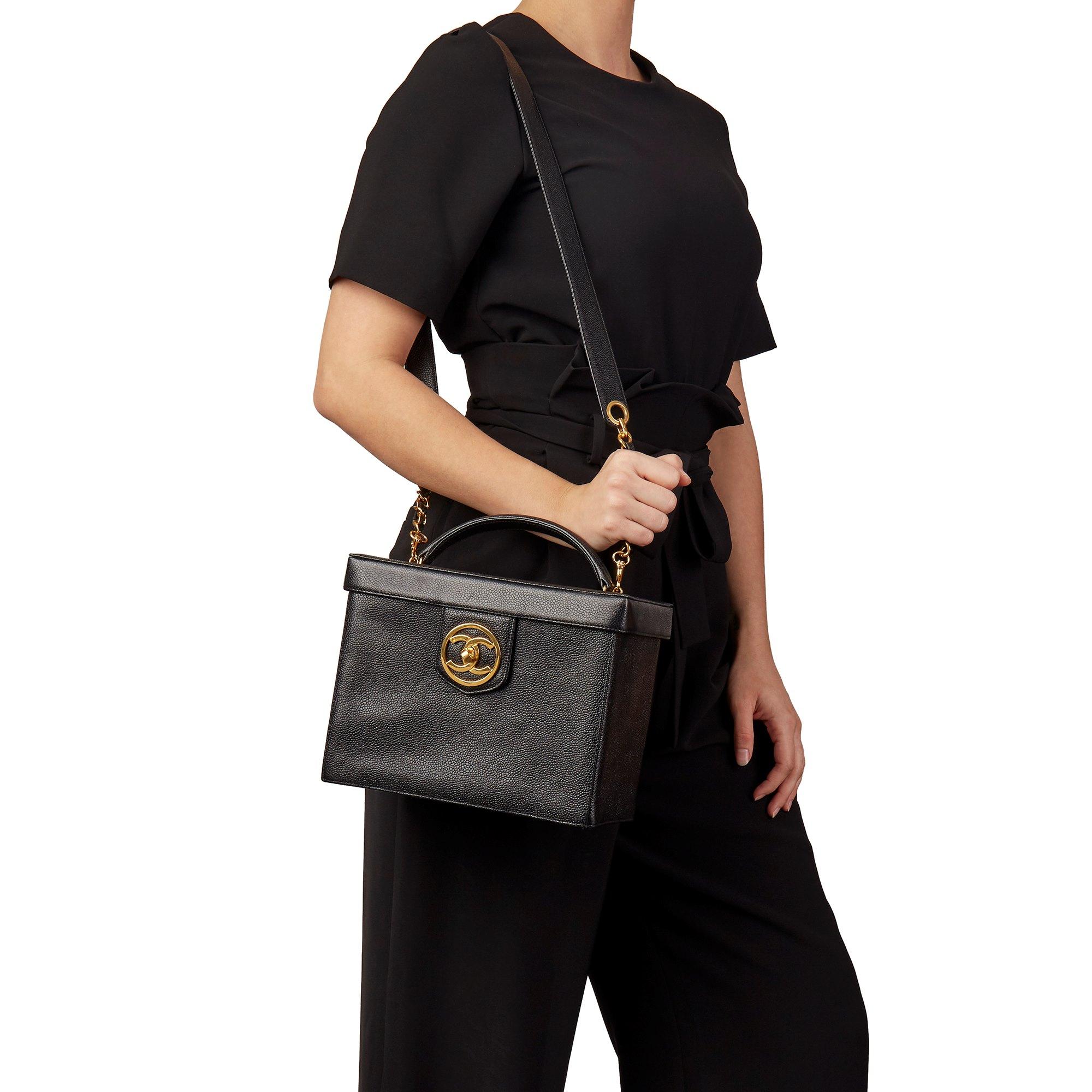 Chanel Black Caviar Leather Vintage Classic Vanity Case