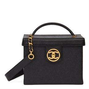 Chanel Black Caviar Leather Vintage Classic Vanity Case