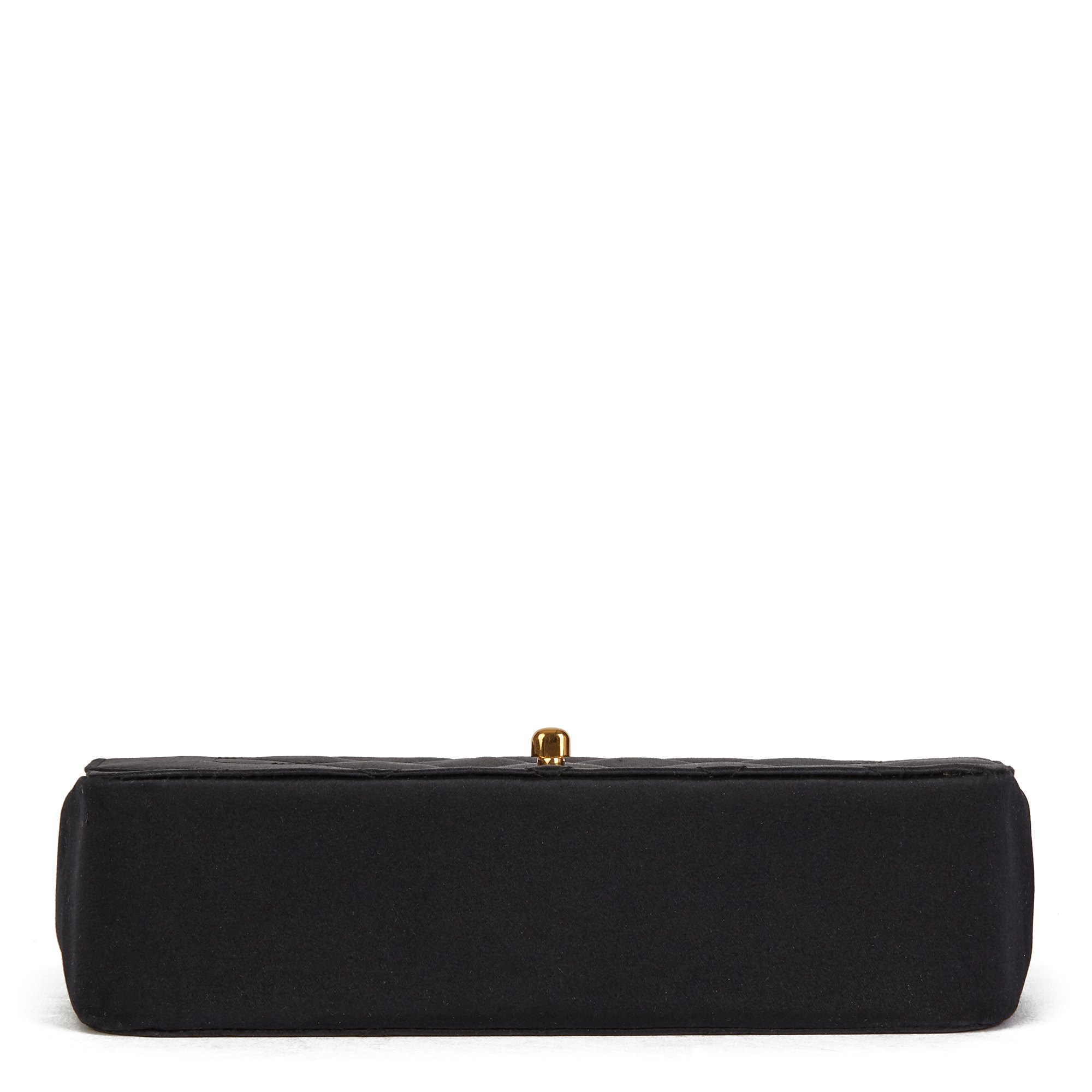 Chanel Black Quilted Satin Vintage Mini Diana Classic Single Flap Bag