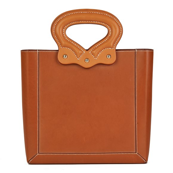 Hermès Fauve & Natural Barenia Leather Cut Out Handle Tote