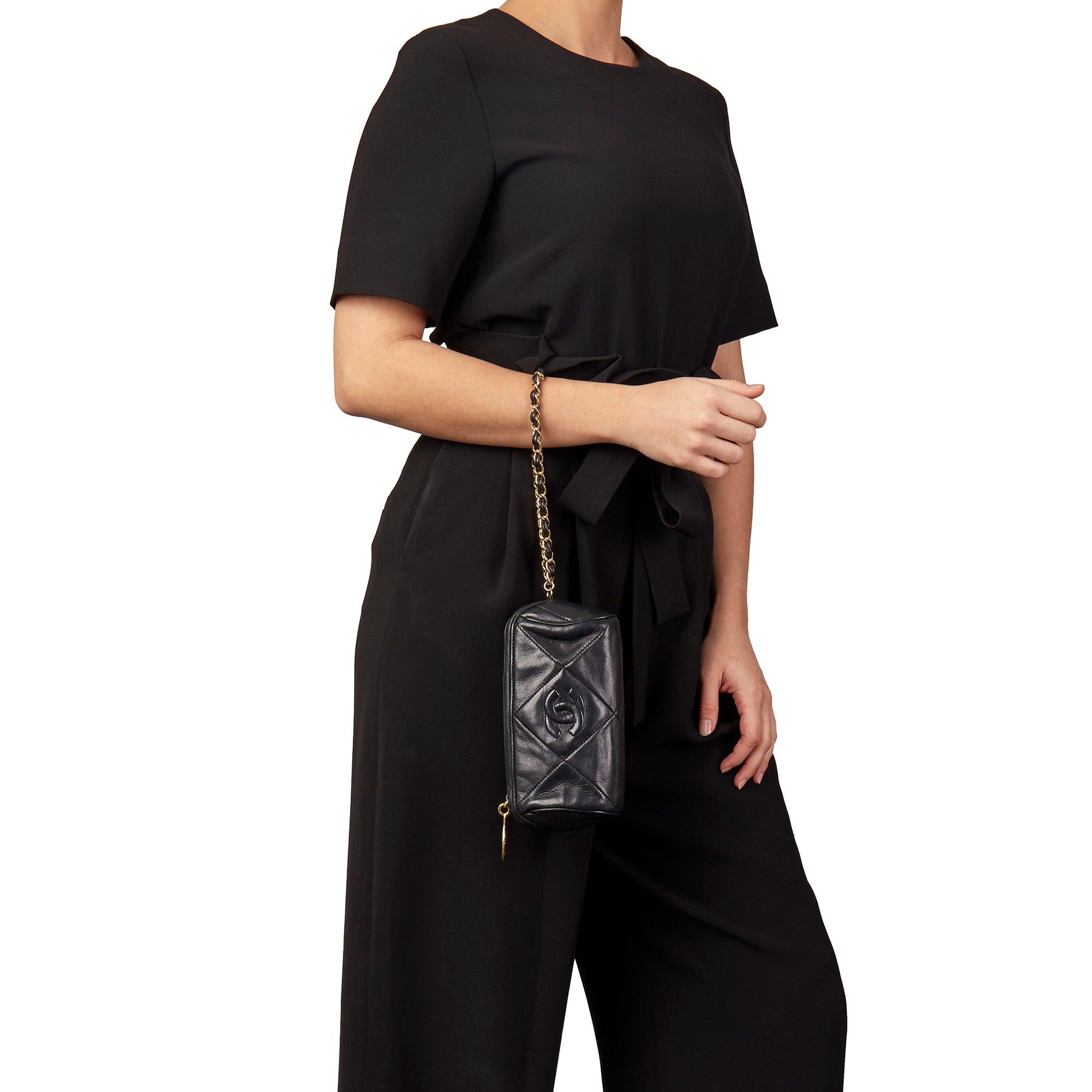 Chanel Black Lambskin Vintage Timeless Charm Pochette