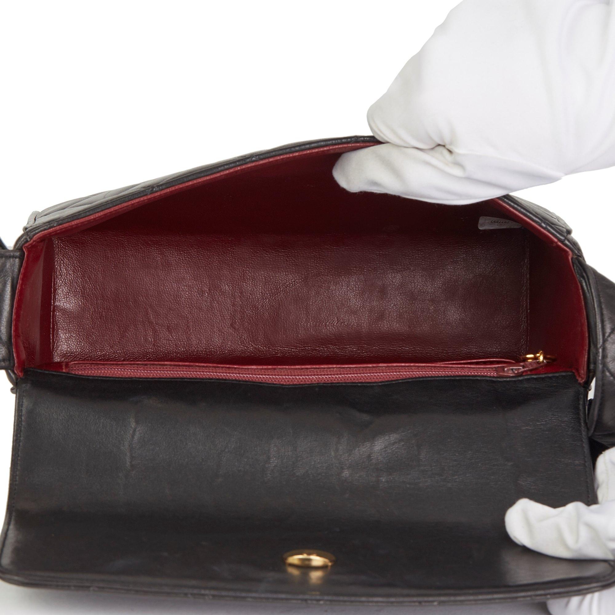 Chanel Black Quilted Lambskin Vintage Leather Logo Shoulder Bag