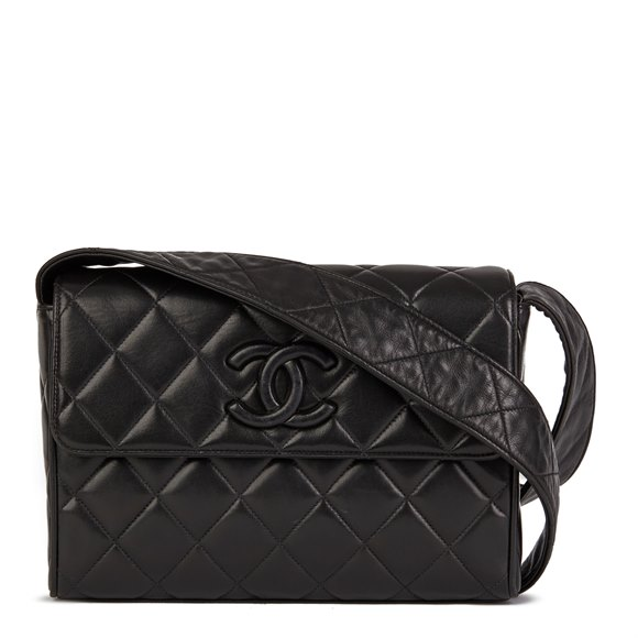 Chanel Black Quilted Lambskin Vintage Leather Logo Shoulder Bag