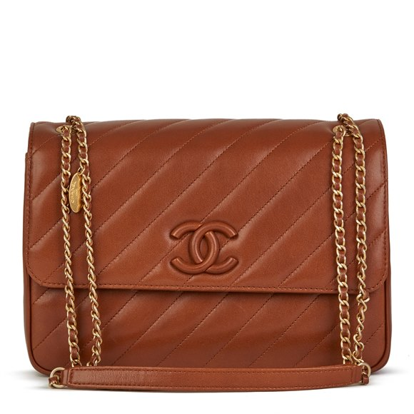 Chanel Hazelnut Brown Diagonal Quilted Lambskin Logo Shoulder Bag with Wallet
