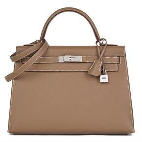 Hermès Etoupe Epsom Leather Kelly 32cm Sellier