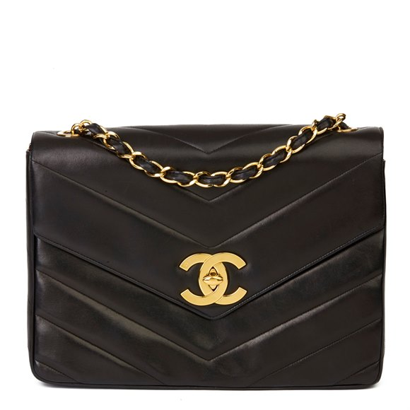 Chanel Black Chevron Quilted Lambskin Vintage Jumbo XL Classic Single Flap Bag