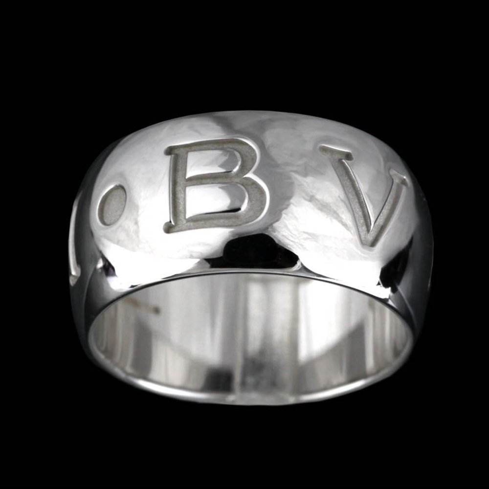 Bvlgari (or Bulgari)18K White Gold Monologo Ring Size 55