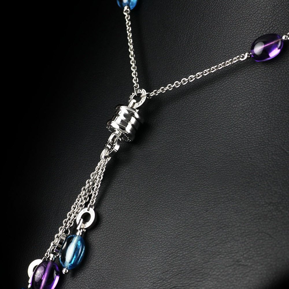 Bvlgari (or Bulgari)B Zero 1 18k White Gold Amethyst & Blue Topaz Pendant Necklace