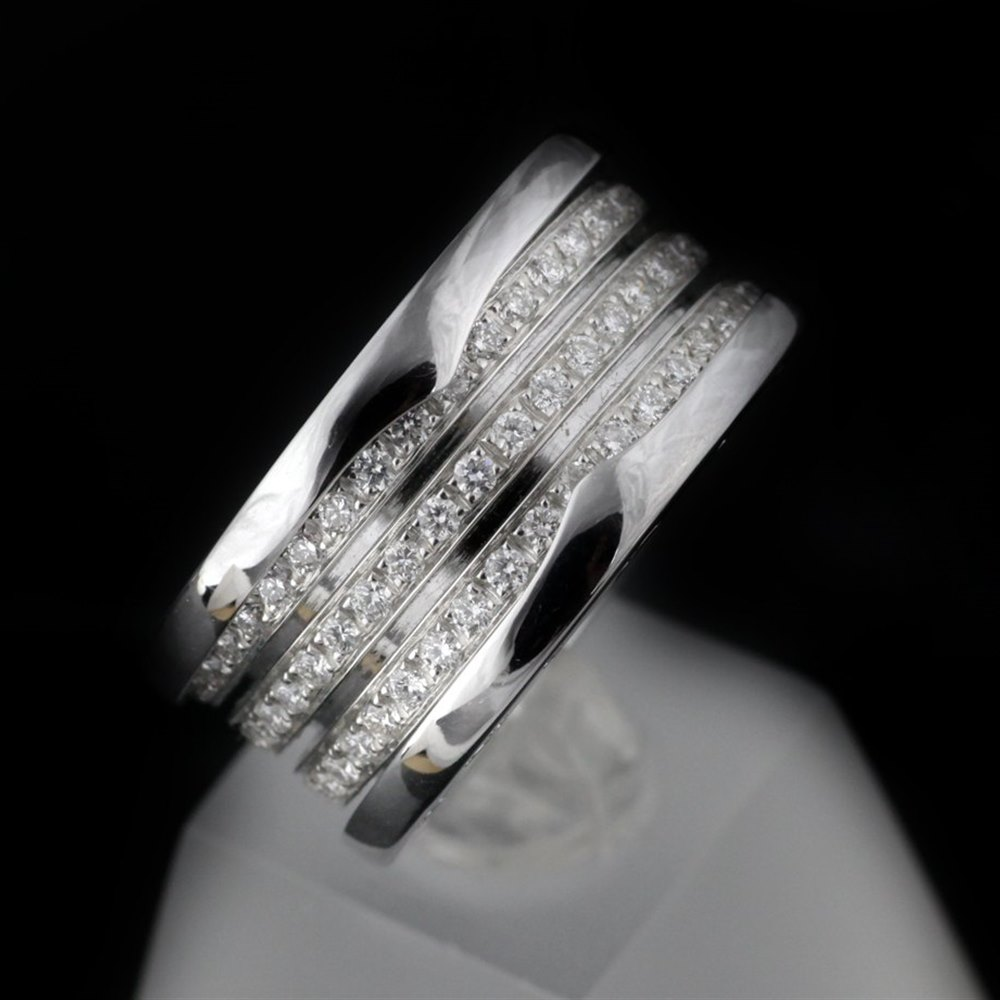 Bvlgari (or Bulgari) B Zero 1 4 Bank 18k White Gold Diamond Ring Size 54