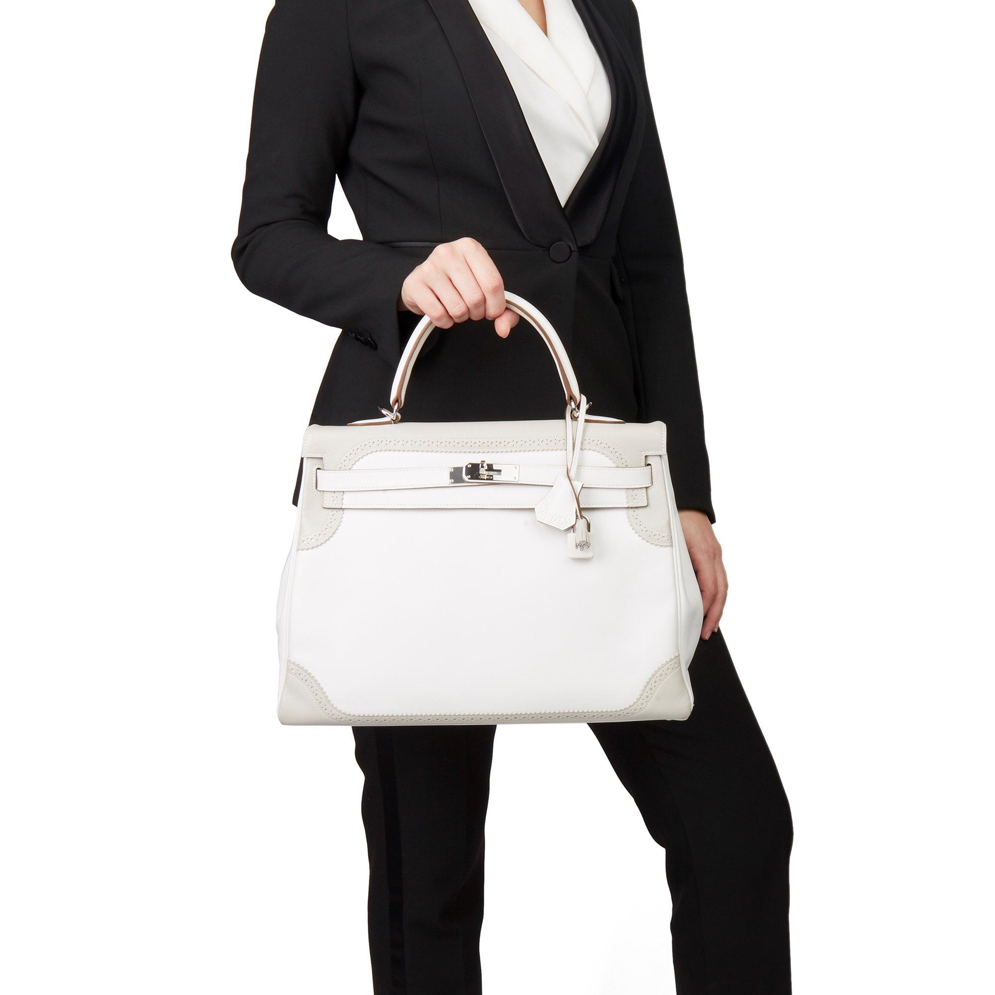 Hermès Blanc & Gris Perle Swift Leather Ghillies Kelly 35cm Retourne