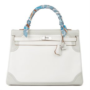Hermès Blanc & Gris Perle Swift Leather Ghillies Kelly 35cm Retourne