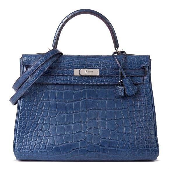 Hermès Bleu de Malte & Anemone Matte Mississippiensis Alligator Leather Bi-Colour Kelly 35cm Retourne