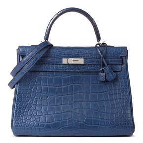 Hermès Bleu de Malte & Anemone Matte Mississippiensis Alligator Leather Bi-Colour Kelly 35cm Retourne