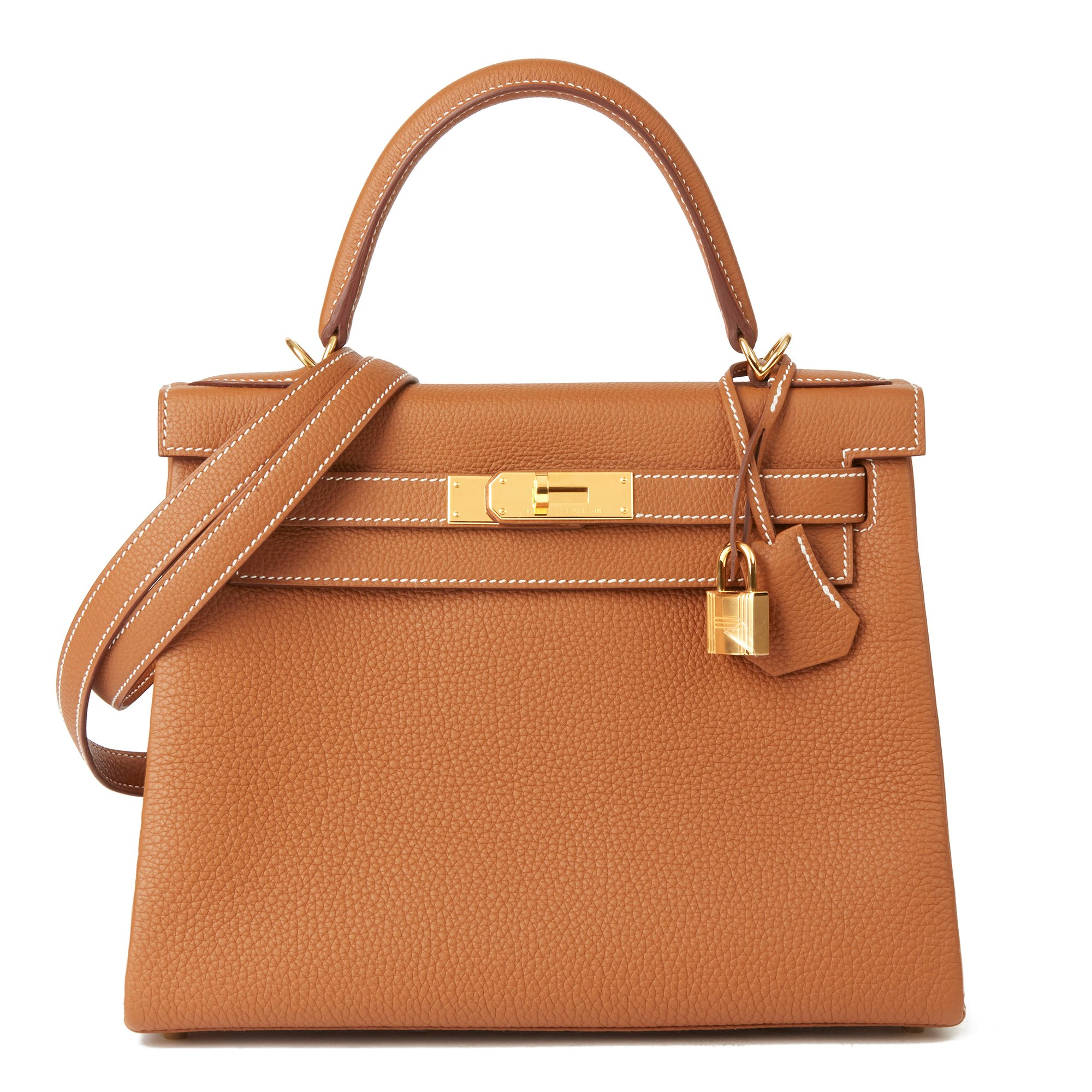 Hermès Gold Togo Leather Kelly 28cm Retourne