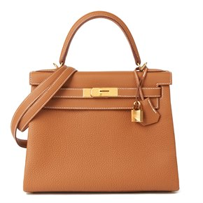 Hermès Gold Togo Leather Kelly 28cm Retourne